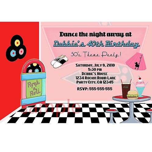 50's Diner Personalized Birthday Party Invitation