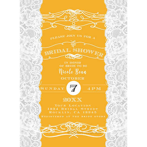 Vintage Elegant Yellow and White Lace Bridal Shower Invitations