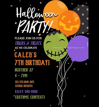 Halloween Balloons Cute Kids Birthday Party Invitations