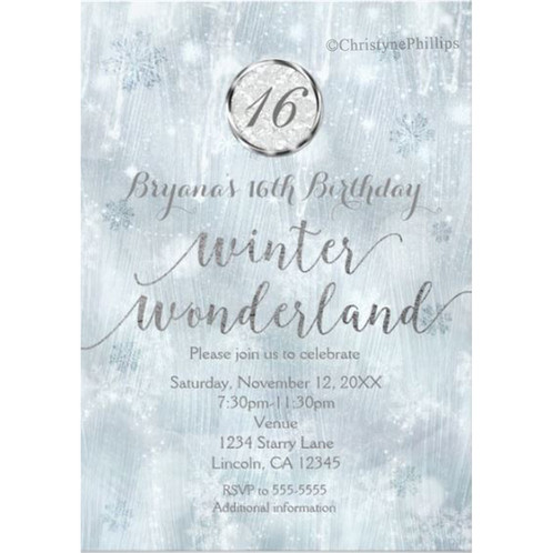White Ice Snowflakes Winter Wonderland Party Invitations