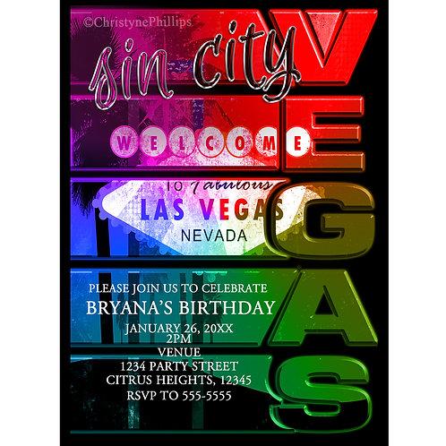Sin City Las Vegas Birthday Party Invitations