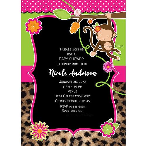 Safari Chic Jungle Monkey Bright Color and Cheetah Party Invitations