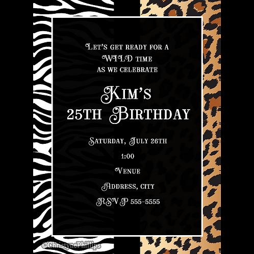 Zebra and Leopard Cheetah Multi Animal Print Chic Invitations