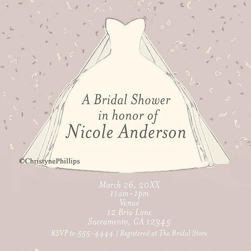 Modern Bridal Shower Sketched Drawn Dress Chic Invitations