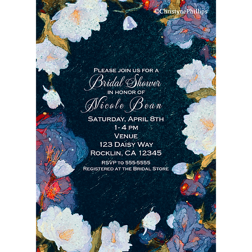 Blue & White Flowers Spring Floral Bridal Shower Party Invitations