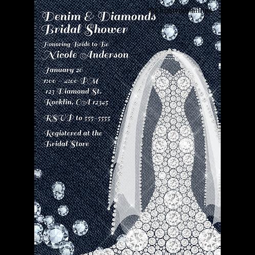 Denim & Diamonds Bling Dress Modern Rustic Glam Bridal Shower