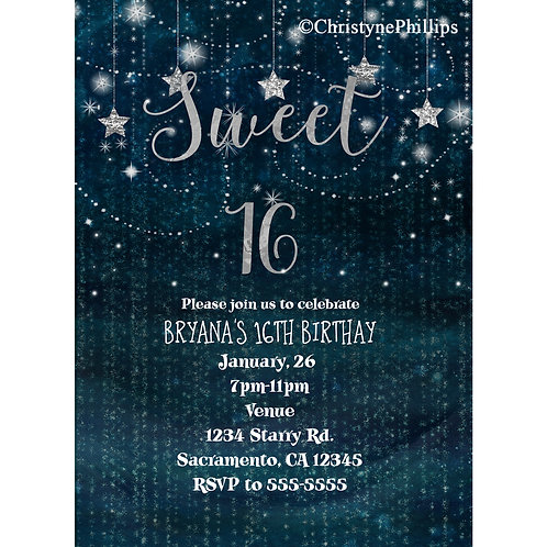 Silver Hanging Stars Celestial Night Sweet 16 Party Invitations