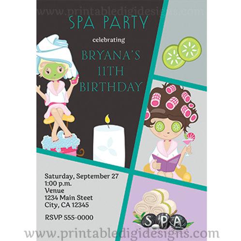 Girls Beauty Salon Spa Personalized Birthday Party Invitations
