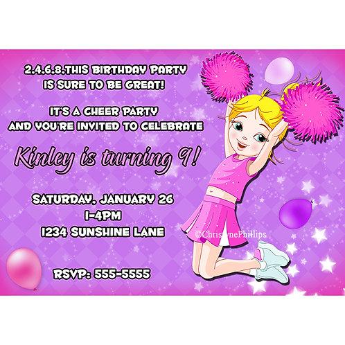 Blonde Cheerleader Girls Birthday Party Event Invitations