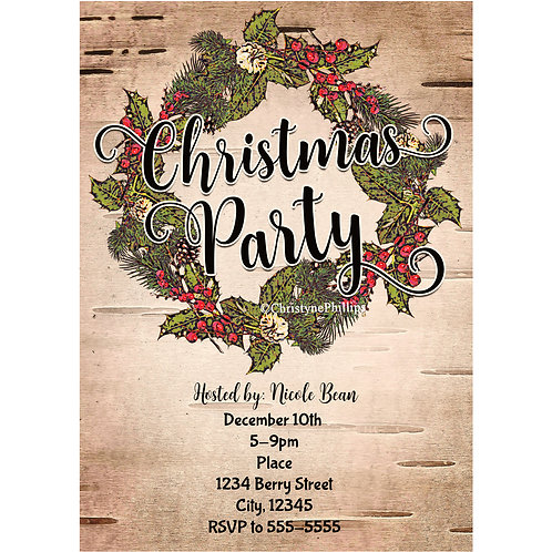 Vintage Rustic Birch Country Christmas Party Invitations