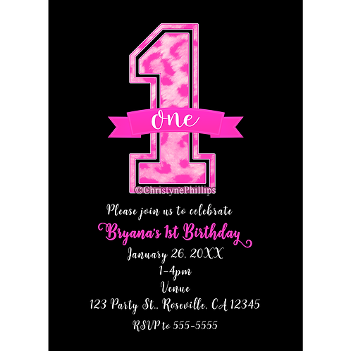 Pink and Black Cheetah Leopard Print ONE 1st Birthday Party Invitations