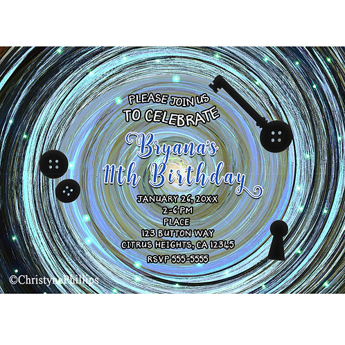 Coraline Buttons and Key Other World Spriral Birthday Party Event Invitations