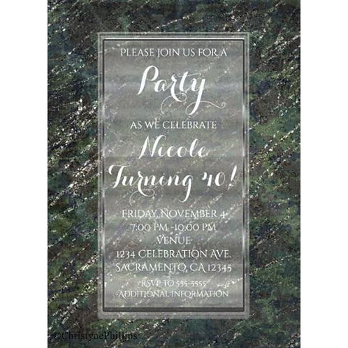 Green & Silver Army Camo Glam Sparkle Party Invitations
