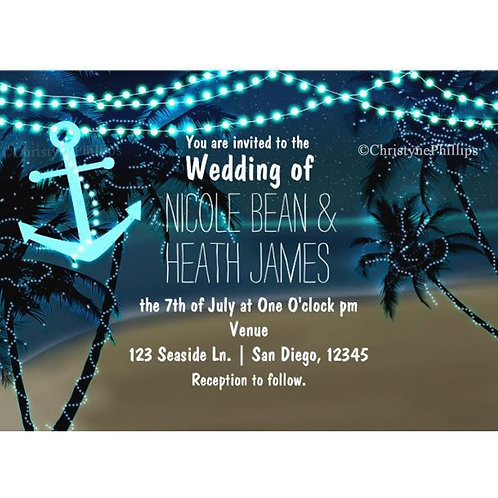 Palm Trees & String Lights at Night Tropical Beach Party Invitations