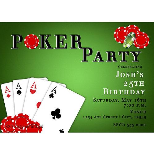 Poker Party Las Vegas Casino Theme Birthday Party Invitations