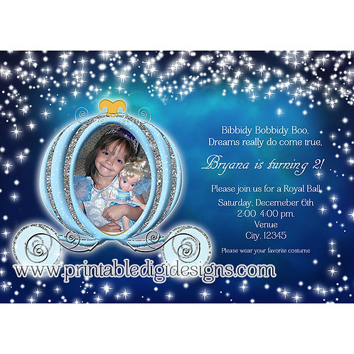Cinderella Carriage Winter Princess Party Photo Invitations