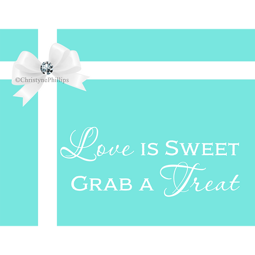 Tiffany Blue White Bow & Diamond Bling Love is Sweet Table Sign