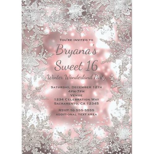 Pink & Silver Winter Wonderland Snowflake Party Invitation