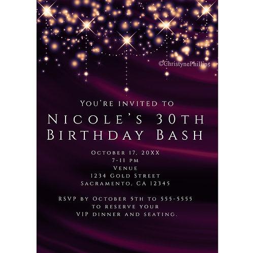 Purple Silk & Gold  Chic Sparkle Glam Party Invitations