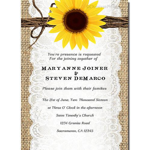 Rustic Sunflower Burlap and Lace Elegant Invitations