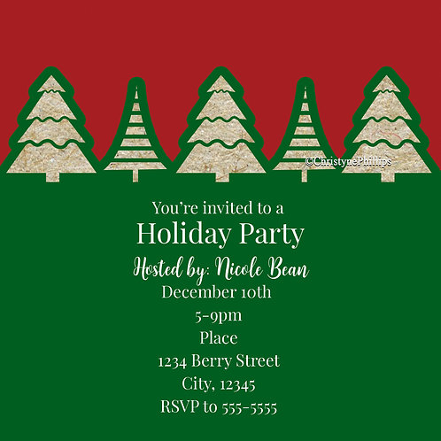 Red and Green Kraft Brown Rustic Christmas Holiday Party Invitations