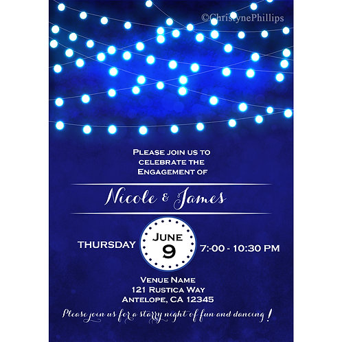 Blue with String Lights Elegant Engagement Party Invitations