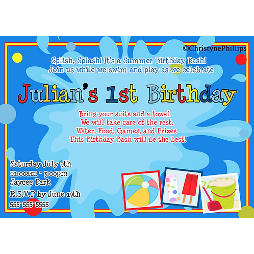 Summer Splash Pool Birthday Party Custom Digital Invitations