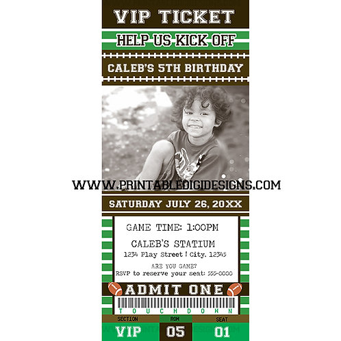 VIP ticket Football Sports Birthday Party Personalized Invitations