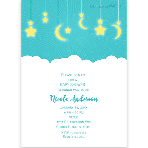 Celestial Moon and Stars Teal Celestial Baby Shower Invitations