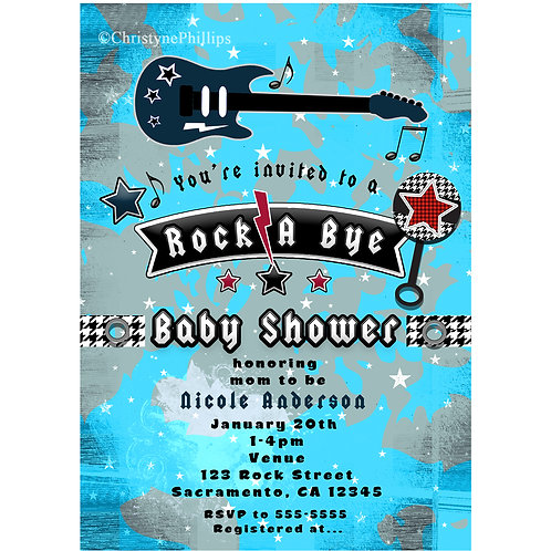 Rock a Bye Baby Shower Guitar + Rattle Blue Rock Star Invitations