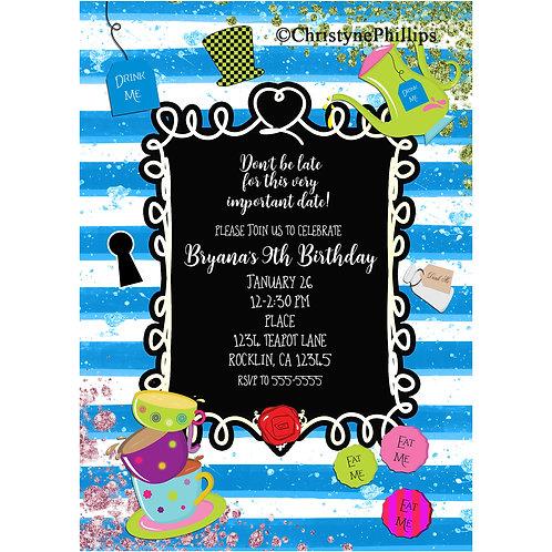 Alice in Wonderland Whimsical Frame Tea Party Birthday Invitations