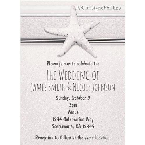 Starfish Classic White Beach Wedding Invitations