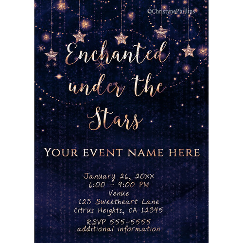 enchanted under the stars celestial gold and purple invitations