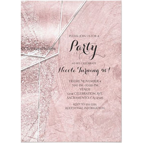 Pink Shimmer Crystal Glass Glam Party Invitations