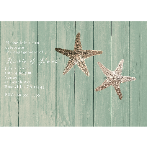 Golden Starfish & Green Wood Elegant Beach Invitations