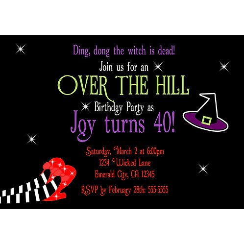 Wicked Witch Wizard of OZ Over the Hill Birthday Party Invitations