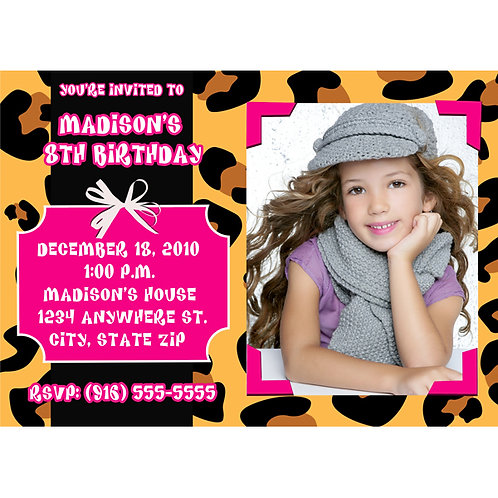 Leopard Cheetah Print and Hot Pink Photo Party Invitation Card