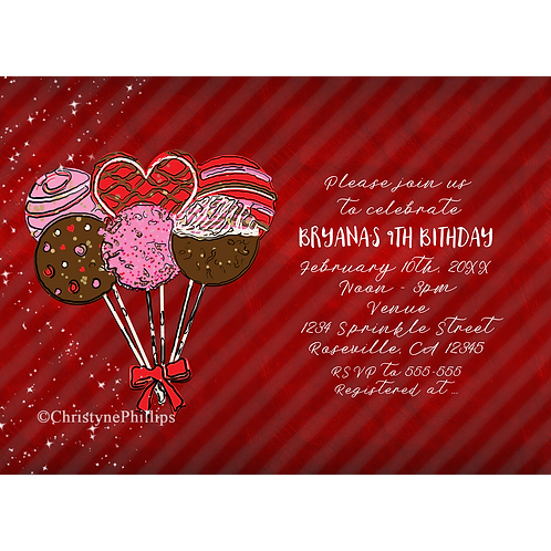 Valentine's Cake Pops Modern Chic Birthday Party Invitations