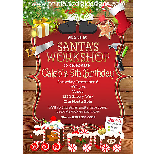 Santa's Workshop Birthday Christmas Party Holiday Invitations