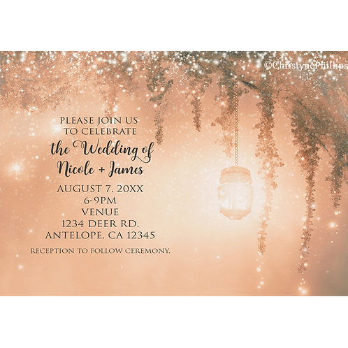 Pink Dreamy Enchanted Forest Rustic Wedding Invitations