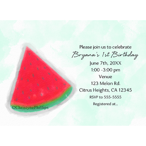 Watermelon Watercolor Birthday Party Invitations