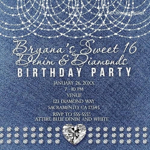 Denim and Diamonds Glam Bling Heart Birthday Party Invitations