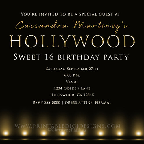 Hollywood Lights Gold Glamour Personalized  Birthday Party Invitations