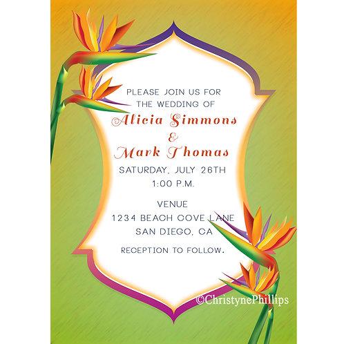 Tropical Flower Bird of Paradise Elegant Wedding Invitations