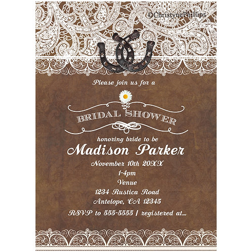 Rustic Brown Horseshoes and Lace Elegant Country Bridal Shower Invitations