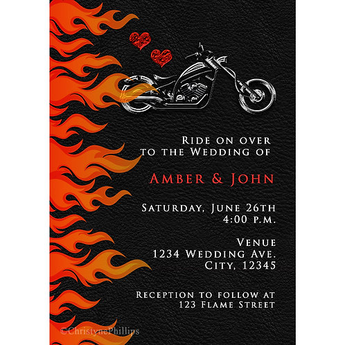 Biker Leather & Fire Flames Motorcycle Bike Wedding Invitations