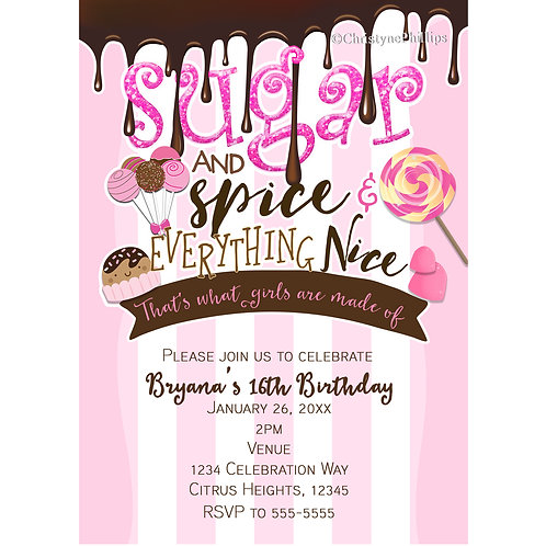 Sugar & Spice and Everything Nice Pink and White Stripes Party Invitations