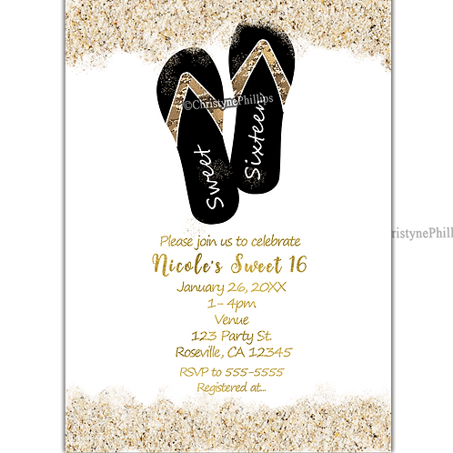 Sweet 16 Party Sandy Beach Flip Flops Personalized Digital Invitations