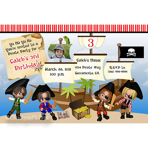 Yo Ho Ho Pirates Kids Birthday Party Personalized Custom Invitations