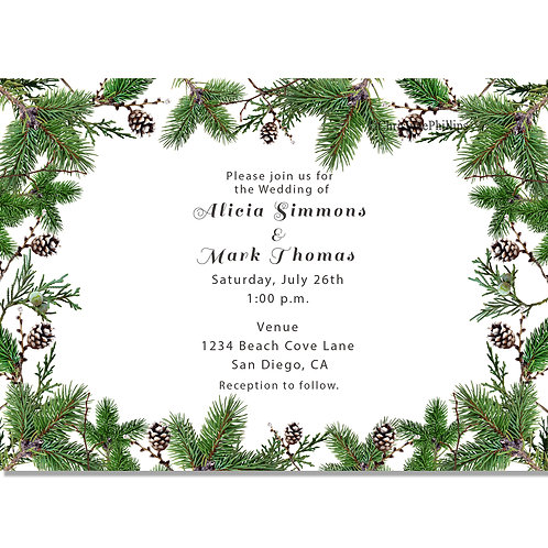 Winter Green Fir and Pine Cones Rustic Holiday Party Invitations